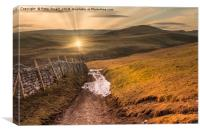 Setting sun in the Yorkshire Dales, Canvas Print