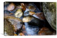 Soft water through rocks, Canvas Print