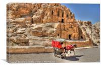 Donkey carriage at Petra, Canvas Print