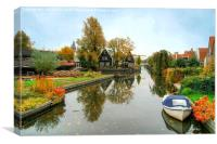Edam Waterway In Autumn , Canvas Print