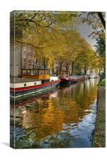 Amsterdam Waterway In Autumn, Canvas Print