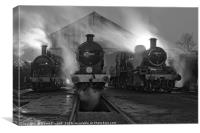 Steam shed at dusk., Canvas Print