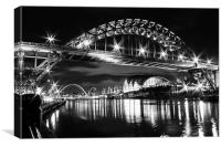 Black and White Newcastle and Gateshead Quayside, Canvas Print