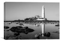 Black and White Reflections of a Lighthouse, Canvas Print