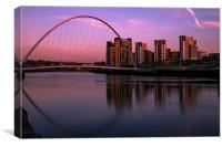 Pink Sunset on Newcastle Quayside, Canvas Print