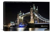 Tower Bridge London at Night, Canvas Print