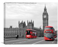 Buses on Westminster Bridge , Canvas Print