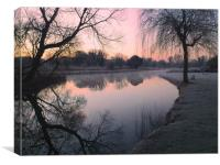 A frosty winter sunrise over the River Test, Canvas Print