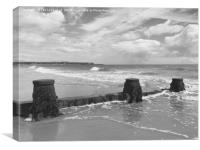 Exmouth over the sea defences at Dawlish Warren, Canvas Print
