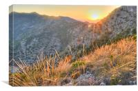 Sunset on the hills of Costa del Sol, Canvas Print
