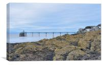 Clevedon Pier behind the rocks, Canvas Print
