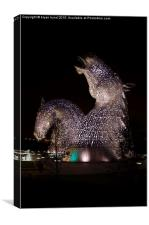 Kelpies by night, Canvas Print