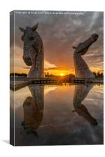 Sunset at the Kelpies, Canvas Print