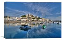 Cloud reflections at Torquay Harbour, Canvas Print