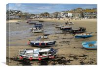 Low Tide Town Beach St Ives, Canvas Print