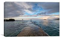 Breakwater at Millendreath Looe, Canvas Print