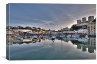 Torquay Harbour Reflections early evening, Canvas Print