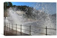 High waves at Meadfoot Beach, Torquay, Canvas Print