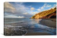Early morning at Millendreath Beach Looe, Canvas Print