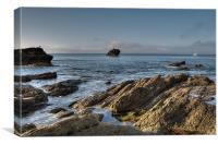 Black Rock Millendreath Beach Looe, Canvas Print