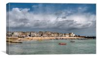 Rain clouds gather over St Ives, Canvas Print