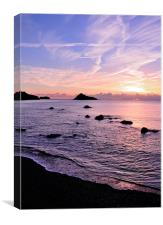 Meadfoot Beach Sunrise in purple, Canvas Print