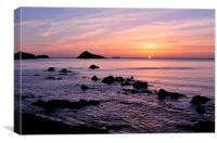 Meadfoot Beach Sunrise looking towards Thatcher Ro, Canvas Print
