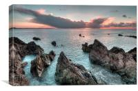 Rocks at Sunrise Looe, Canvas Print