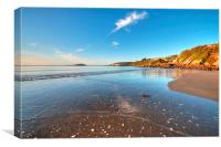 Low Tide at Millendreath Beach Looe, Canvas Print