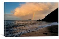 Rainbow over Looe island, Canvas Print