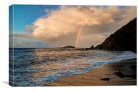 Rainbow over Looe island, Canvas Print