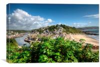 The River Looe and Town Beach at Looe, Canvas Print