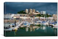 Rain clouds gather over Torquay Harbour, Canvas Print