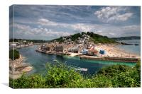 Looe River and Town Beach, Canvas Print