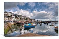 Clouds and reflections over Brixham Harbour, Canvas Print