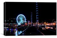 Big Wheel and Torquay Bridge at night, Canvas Print