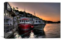 The sun goes down at West Looe, Canvas Print