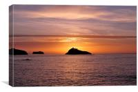 Thatcher Rock Sunrise taken from Meadfoot Beach, Canvas Print