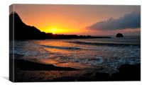 Millendreath Beach Looe at Sunrise, Canvas Print