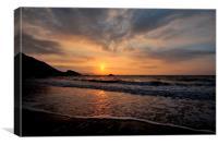 Sunrise on Town Beach Looe, Canvas Print