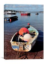 Boats and Buoys Teignmouth Back Beach, Canvas Print