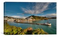 Clouds gather over Looe and the Banjo Pier early , Canvas Print