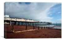 Clouds gather over Teignmouth Pier, Canvas Print
