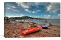 Boats on Teignmouth Back Beach , Canvas Print