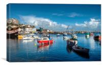 Turquoise sky and sea at Brixham Harbour , Canvas Print