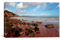 Red cliffs and sand at Broadsands Beach Torbay , Canvas Print