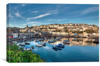 Brixham Harbour reflections early morning, Canvas Print