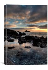 Meadfoot Beach Sunrise in portrait , Canvas Print
