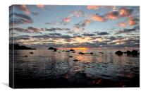 Colourful sunrise at Meadfoot Beach Torquay, Canvas Print