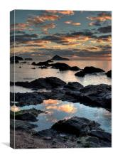 Meadfoot Beach Torquay Sunrise portrait view, Canvas Print